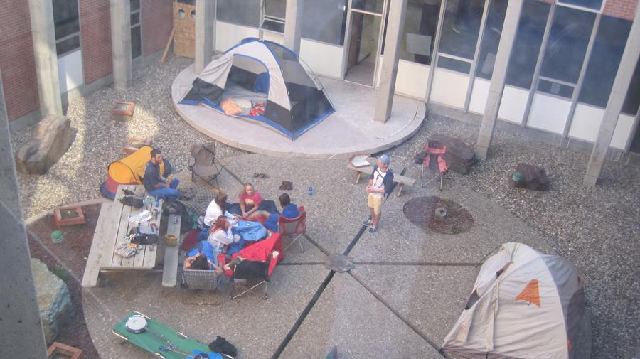 SENIORS CAMP OUT IN COURTYARD