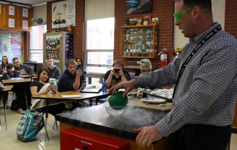 Beck demonstrates the power of liquid nitrogen