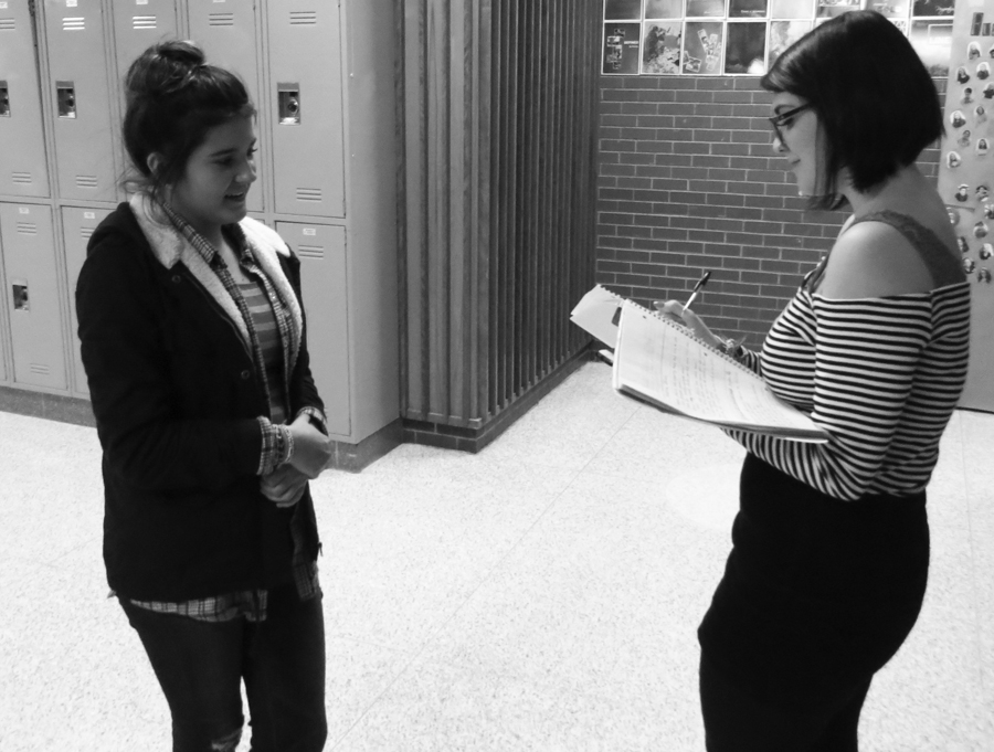 Gabrielle Pope interviews senior Shakira Brien for an upcoming article.